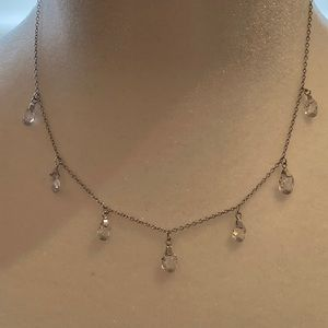 sterling silver and drop cubic zirconia necklace